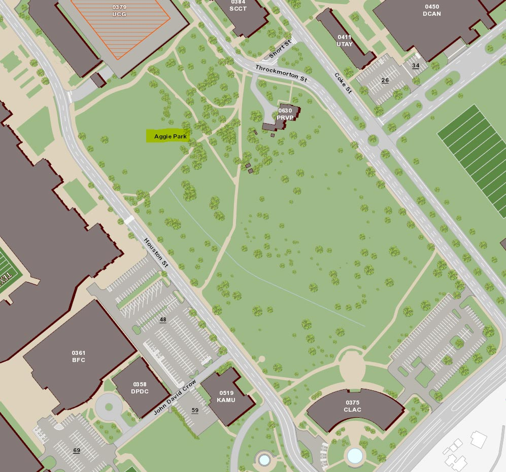 Map showing distinction between Aggie Park and Spence Park locations